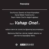 Vahap Onel Hürriyet Gazetesi Başsağlığı ilanı