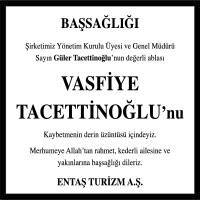 Vasfiye Tacettinoğlu Hürriyet Gazetesi Başsağlığı ilanı