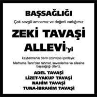 Zeki Tavaşi Allevi Hürriyet Gazetesi Başsağlığı ilanı