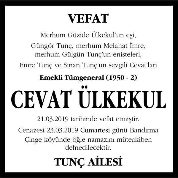 Cevat Ülkekul Sözcü Gazetesi Vefat İlanı