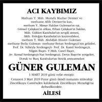 Güner Guleman Hürriyet Gazetesi Vefat İlanı