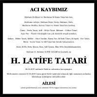 H. Latife Tatari Hürriyet Gazetesi Vefat İlanı