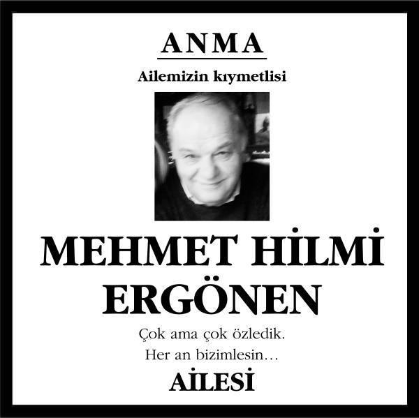Mehmet Hilmi Ergönen Hürriyet Gazetesi Anma ilanı