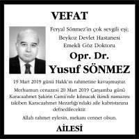 Opr. Dr. Yusuf Sönmez Hürriyet Gazetesi Vefat İlanı