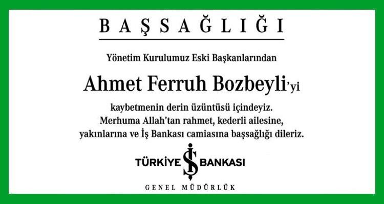 Ahmet Ferruh Bozbeyli Hürriyet Başsağlığı İlanı
