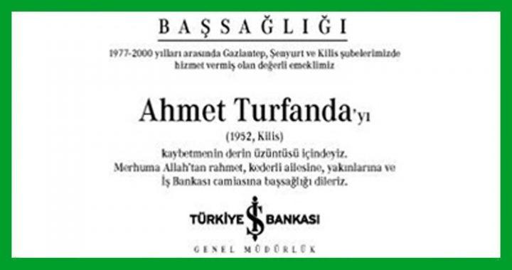 Ahmet Turfanda Başsağlığı İlanı