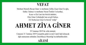 Ahmet Ziya Giner Hürriyet Vefat İlanı