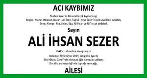 Ali İhsan Sezer Hürriyet Vefat İlanı
