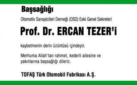 Ercan Tezer Hürriyet Gazetesi Başsağlığı İlanı