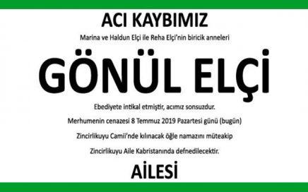 Gönül Elçi Hürriyet Gazetesi Vefat İlanı