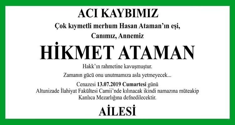 Hikmet Ataman Hürriyet Gazetesi Vefat İlanı