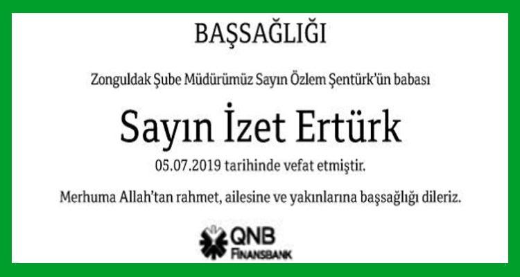 İzet Ertürk Hürriyet Gazetesi Başsağlığı İlanı
