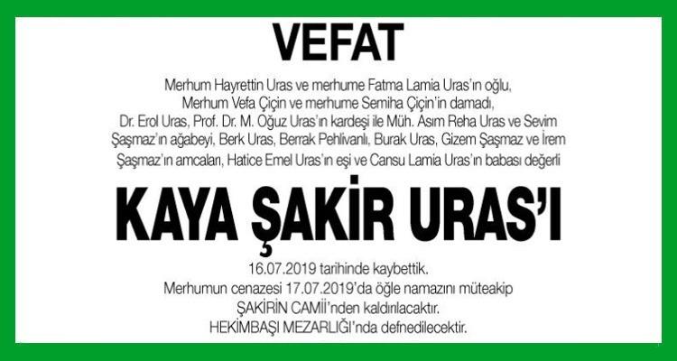 Kaya Şakir Uras Hürriyet Gazetesi Vefat İlanı