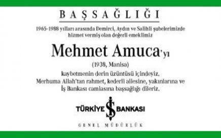 Mehmet Amuca Hürriyet Gazetesi Başsağlığı İlanı