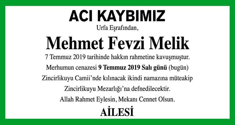 Mehmet Fevzi Melik Hürriyet Gazetesi Vefat İlanı