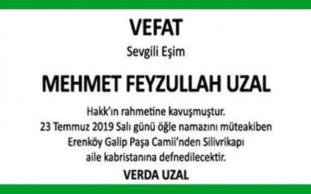 Mehmet Feyzullah Uzal Hürriyet Vefat İlanı