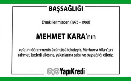 Mehmet Kara Hürriyet Gazetesi Başsağlığı İlanı