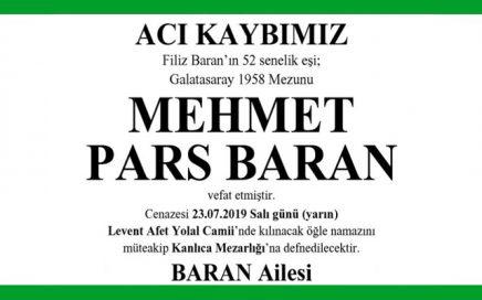 Mehmet Pars Baran Hürriyet Gazetesi Vefat İlanı