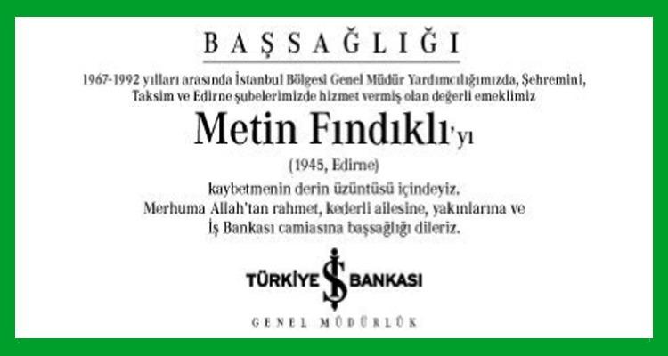 Metin Fındıklı Hürriyet Gazetesi Başsağlığı İlanı