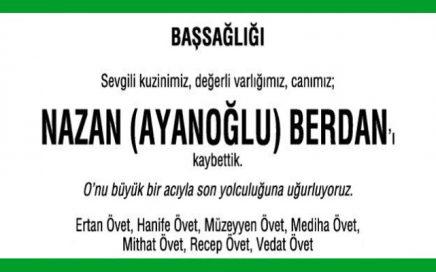 Nazan Ayanoğlu Berdan Hürriyet Gazetesi Başsağlığı İlanı