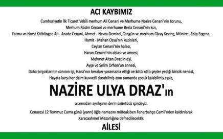 Nazire Ulya Draz Hürriyet Gazetesi Vefat İlanı