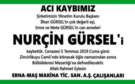 Nurçin Gürsel Hürriyet Gazetesi Başsağlığı İlanı