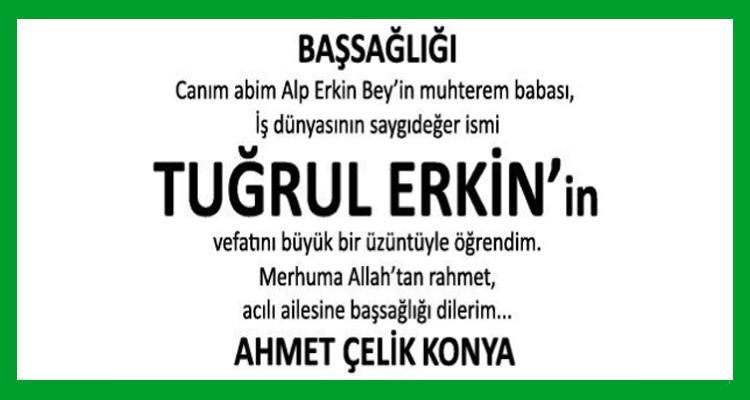 Tuğrul Erkin Hürriyet Gazetesi Başsağlığı İlanı