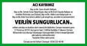 Verjin Sungurlucan Hürriyet Gazetesi Vefat İlanı