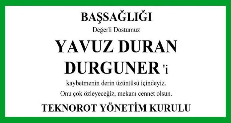 Yavuz Durgunel Hürriyet Başsağlığı İlanı