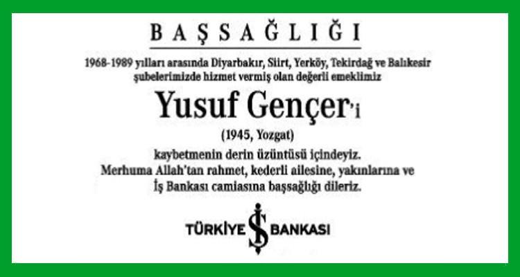Yusuf Gençer Hürriyet Gazetesi Başsağlığı İlanı