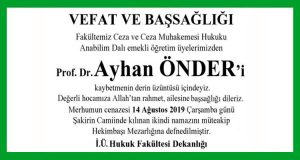 Prof. Dr. Ayhan Önder Hürriyet Başsağlığı İlanı