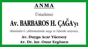 Barbaros H. Çağa Hürriyet Anma İlanı