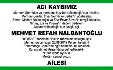 Mehmet Refah Nalbantoğlu Hürriyet Vefat İlanı