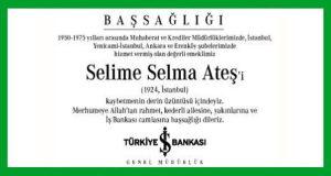 Selime Selma Ateş Hürriyet Başsağlığı İlanı