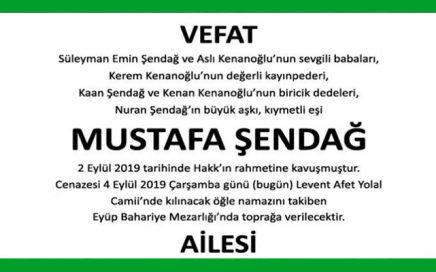Mustafa Şendağ Hürriyet Vefat İlanı