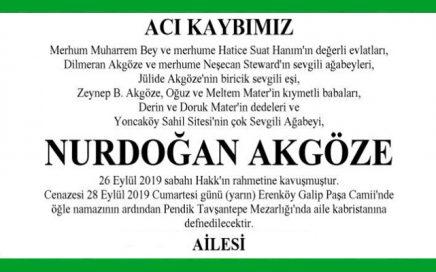 Nurdoğan Akgöze Hürriyet Vefat İlanı