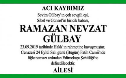 Ramazan Nevzat Gülbay Hürriyet Vefat İlanı