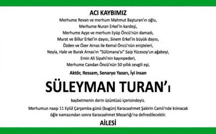 Süleyman Turan Hürriyet Vefat İlanı