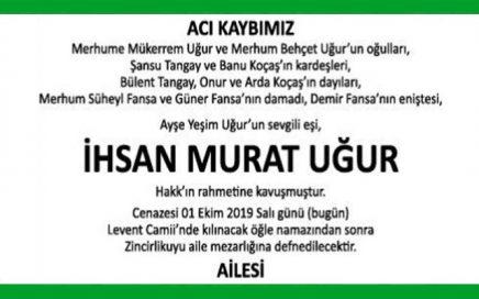 İhsan Murat Uğur Hürriyet Vefat İlanı