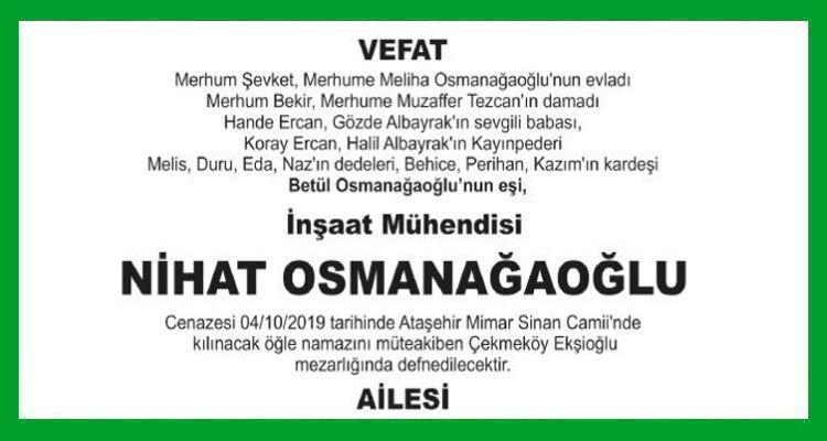 Nihat Osmanağaoğlu Hürriyet Vefat İlanı