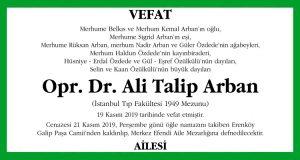 Opr. Dr. Ali Talip Arban Sözcü Vefat İlanı