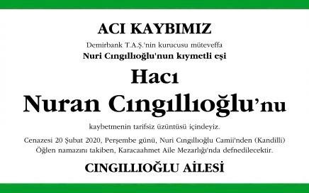 Nuran Cıngıllıoğlu vefat ilanı
