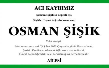 Osman Şişik Hürriyet Vefat İlanı