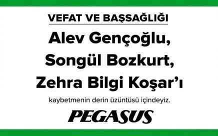 Alev Gençoğlu, Songül Bozkurt Zehra Bilgi Koşar Pegasus Vefat İlanı
