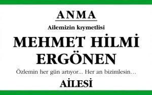 Mehmet Hilmi Ergönen Hürriyet Anma İlanı