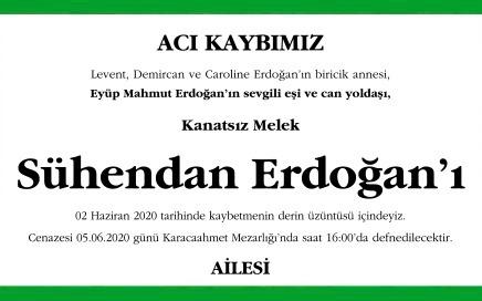 Eyüp Mahmut Erdoğan'ın sevgili eşi ve can yoldaşı, Kanatsız Melek Sühendan Erdoğan'ı 2 Haziran 2020 tarihinde kaybetmenin derin üzüntüsü içindeyiz.