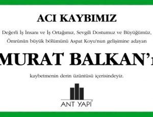Murat Balkan Başsağlığı ilanı