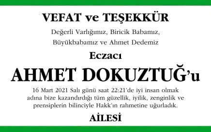 Ahmet Dokuztuğ Vefat ilanı
