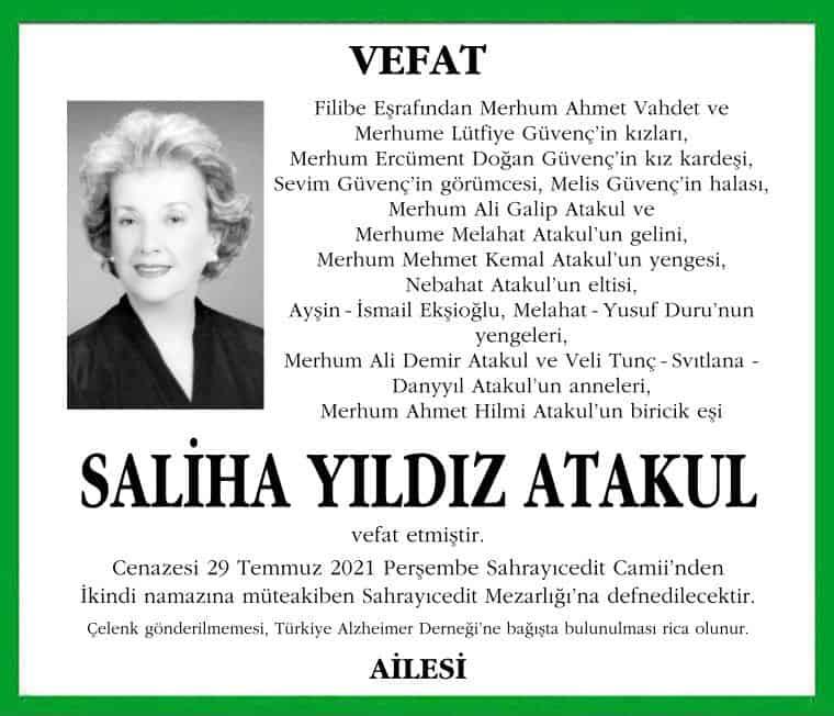 VEFAT Filibe Eşrafından Merhum Ahmet Vahdet ve Merhume Lütfiye Güvenç'in kızları, Merhum Ercüment Doğan Güvenç'in kız kardeşi, Sevim Güvenç'in görümcesi, Melis Güvenç'in halası, Merhum Ali Galip Atakul